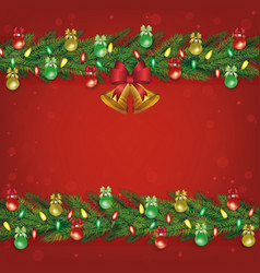 red christmas decoration banner template with vector image