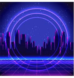 retro futurism futuristic synth wave vector image