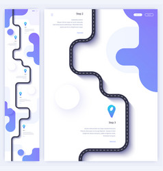 Road trip and journey route homepage concept vector