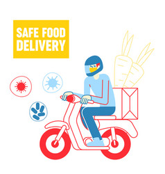 Safe food delivery courier character delivering vector