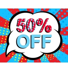 Sale poster with 50 PERCENT OFF text Advertising vector