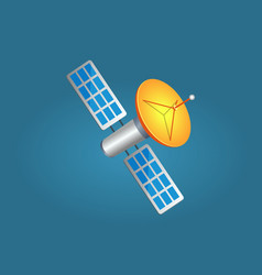 satellites in cartoon style with yellow aerial vector image