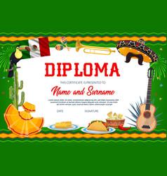School education cinco de mayo diploma vector