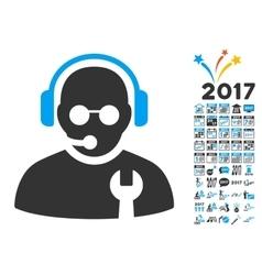 Service Operator Icon With 2017 Year Bonus vector