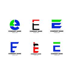 set initial letter e logo template design vector image