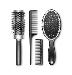 Set of Grooming and Hot Curling Radial Hair Brush vector image