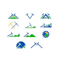 set of mining logo design template vector image