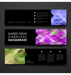 Set of modern design banner template in Mardi Gras vector
