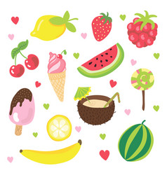 set of summer fruits ice cream and other food vector image