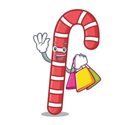 shopping candy canes character cartoon vector image
