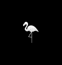 Silver flamingo silhouette vector