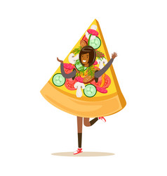 smiling woman wearing pizza costume fast food vector image