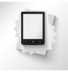 Stack of books with e-book vector image