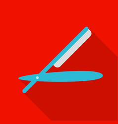 Straight razor icon in flat style isolated on vector