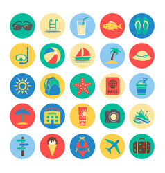 Summer colorful icons vector