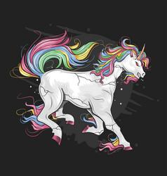 unicorn full color rainbow vector image