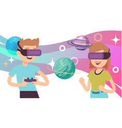 virtual space travel man woman wear vr glasses vector image