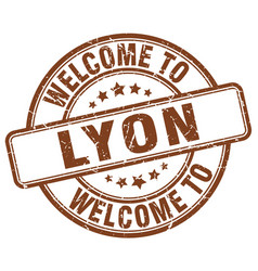 welcome to lyon brown round vintage stamp vector image