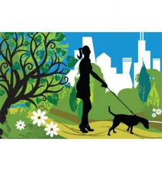woman with a dog park vector image