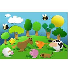 cartoon farm animals vector image vector image