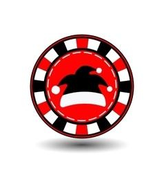 poker chip Christmas new year Santa Claus cap vector image