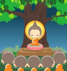 Buddha sitting on lotus flower under Bodhi tree vector image