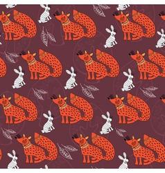 fox and rabbit vector image