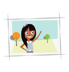 happy young girl in the photo vector image