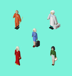 Isometric human set of hostess cleaner female vector
