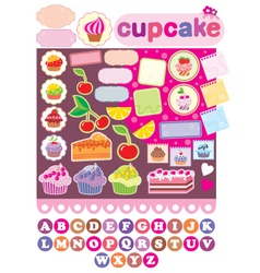 scrapbook elements with cupcakes vector image vector image