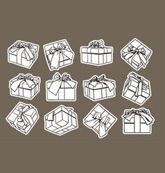 set of sketch gift box presents hand drawn vector image