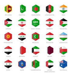 Asia middle east and south Asia Flag Icons Hexagon vector image