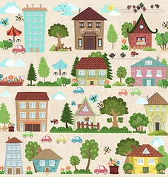 Collection a cute houses and trees for you design vector image