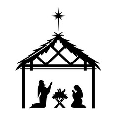 mary and joseph pray over the newly born jesus vector image
