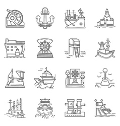 Ships and ports line icons vector image