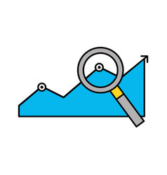 statistics graphic with magnifying glass vector image vector image