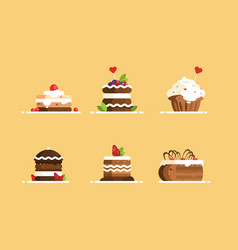 sweet cake desserts set vector image