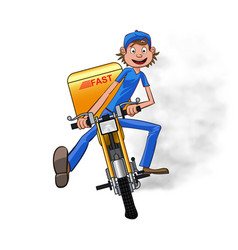 young man working the fast delivery riding on vector image