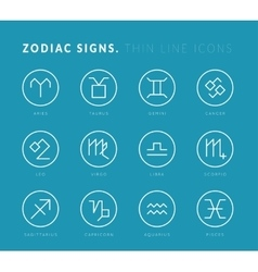 Zodiac signs Thin line icons vector image vector image