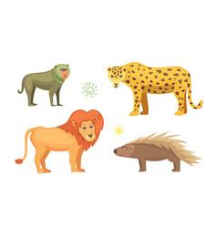 african animals cartoon set elephant vector image