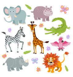 cartoon cute african savanna animals set vector image