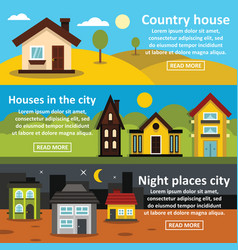 country house banner horizontal set flat style vector image vector image