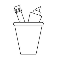 cup pencil school utensil thin line vector image