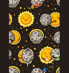 cute moon practice of yoga solar eclipse seamless vector image
