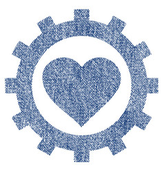love heart options gear fabric textured icon vector image