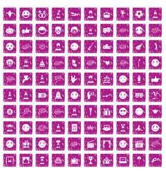 100 emotion icons set grunge pink vector image