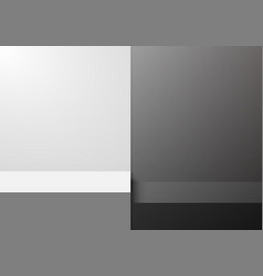3d black and white step studio room blank vector image
