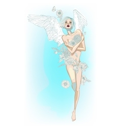 Angel girl with white wings and flowers vector image