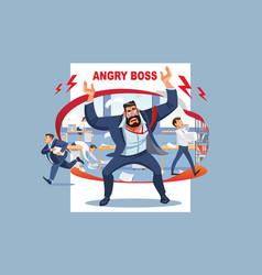 Angry boss screams in chaos at his subordinates vector