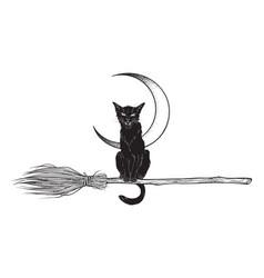black cat rides the broom flash tattoo design vector image